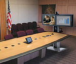 Boat shape conference table with Tandberg 7000